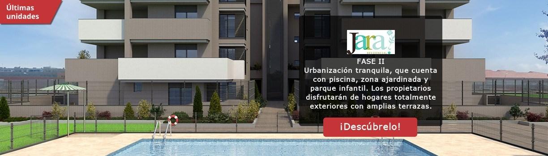Residencial Jara II en la Tenería Pinto. Urbanización tranquila con pisos de nueva construcción con terrazas y zonas comunes ajardinadas con piscina